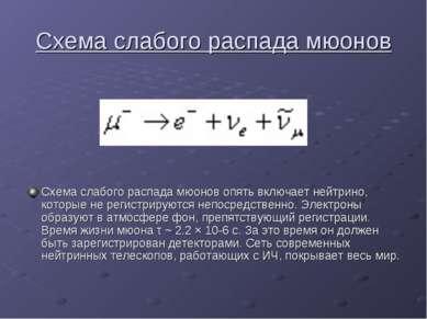 Схема слабого распада мюонов Схема слабого распада мюонов опять включает нейт...