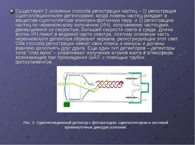 Существуют 2 основных способа регистрации частиц – 1) регистрация сцинтилляци...