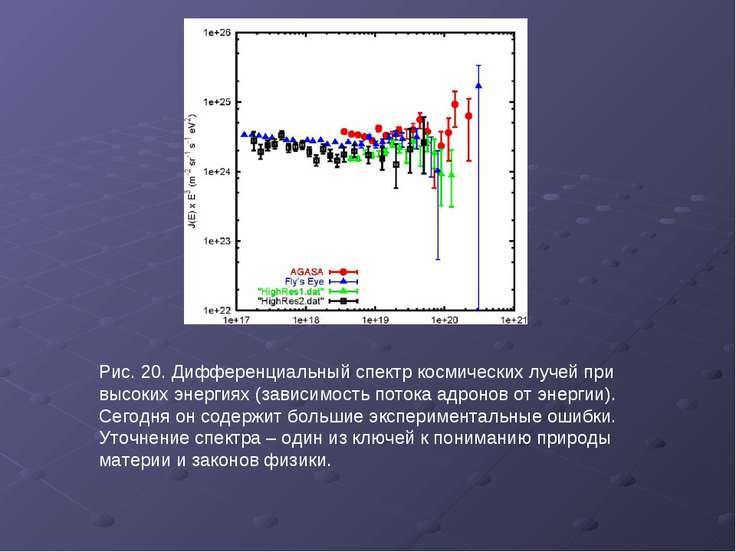 Рис. 20. Дифференциальный спектр космических лучей при высоких энергиях (зави...