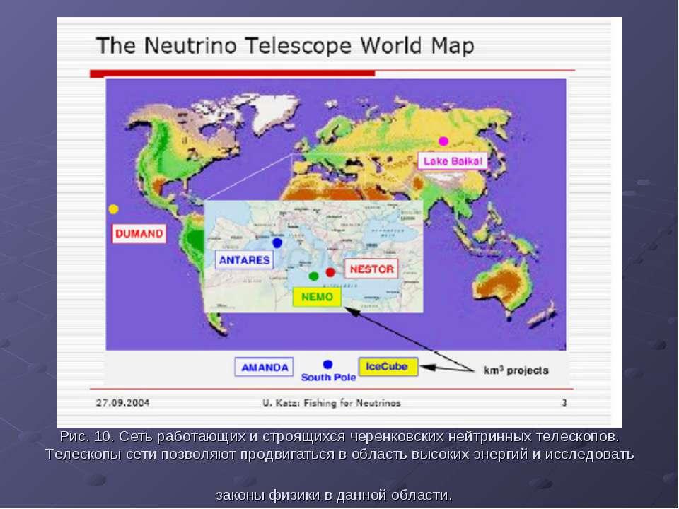 Рис. 10. Сеть работающих и строящихся черенковских нейтринных телескопов. Тел...
