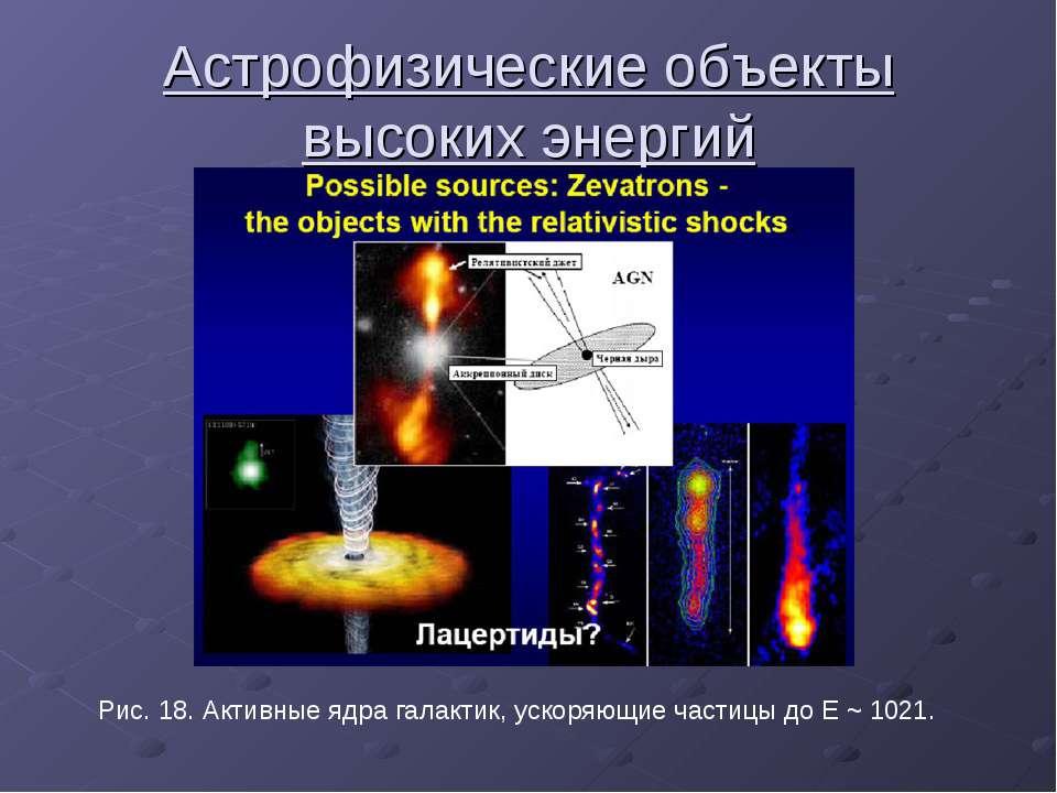 Астрофизические объекты высоких энергий Рис. 18. Активные ядра галактик, уско...