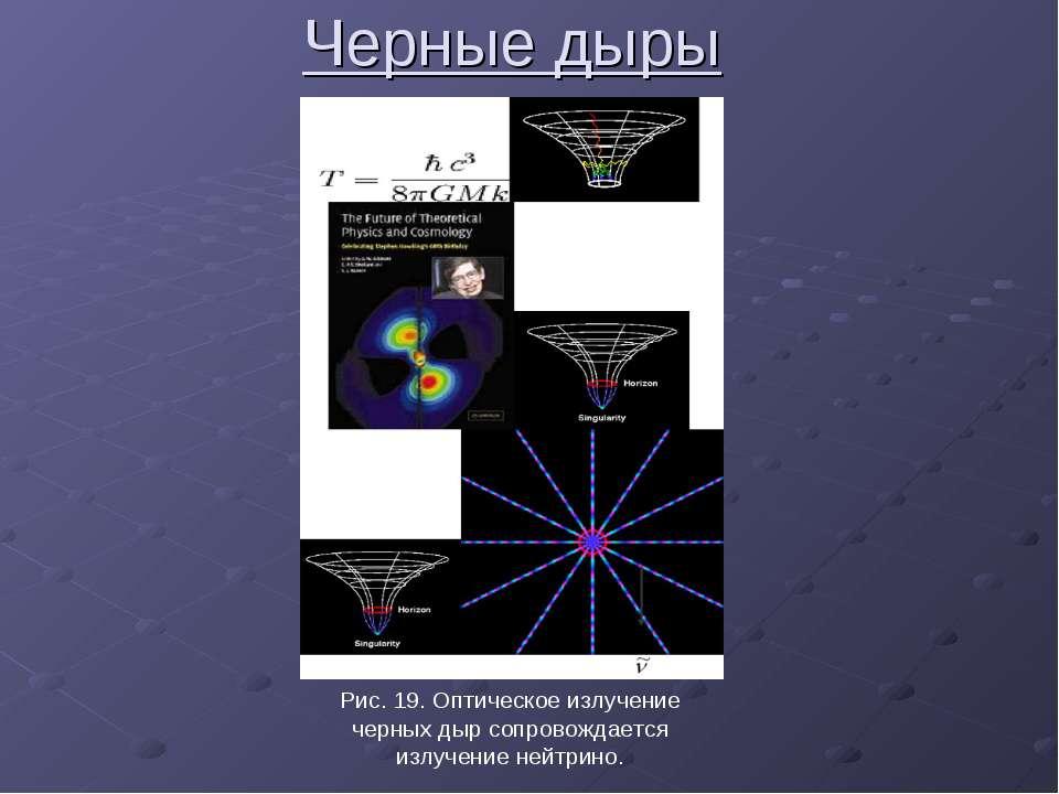 Черные дыры Рис. 19. Оптическое излучение черных дыр сопровождается излучение...
