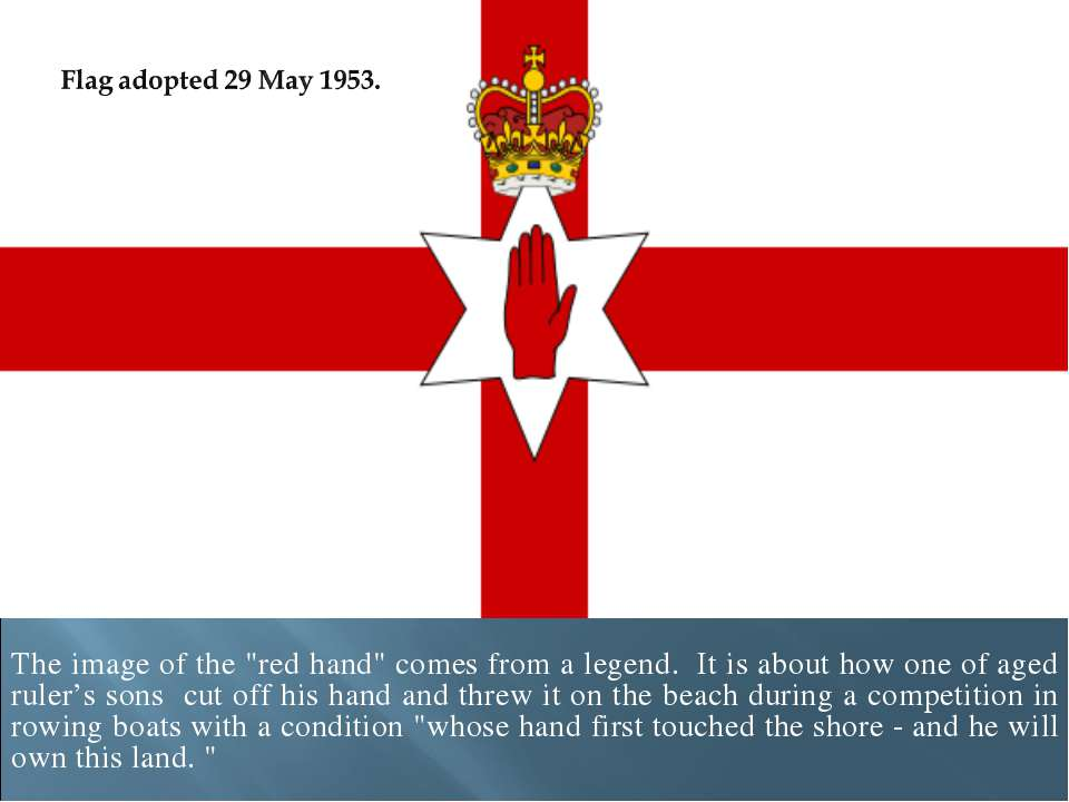 "The image of the ""red hand"" comes from a legend. It is about how one of aged ..."