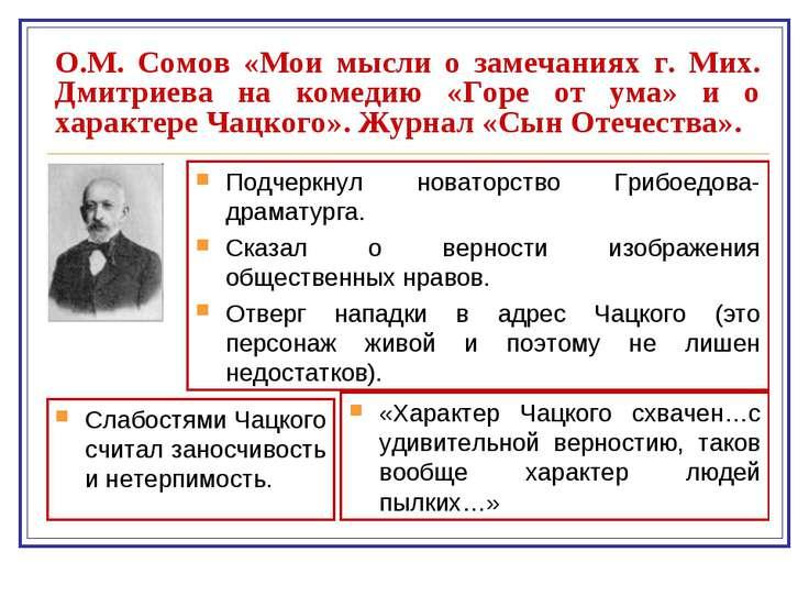 О.М. Сомов «Мои мысли о замечаниях г. Мих. Дмитриева на комедию «Горе от ума»...
