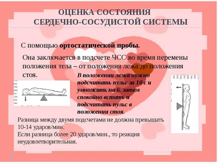 ОЦЕНКА СОСТОЯНИЯ СЕРДЕЧНО-СОСУДИСТОЙ СИСТЕМЫ С помощью ортостатической пробы....