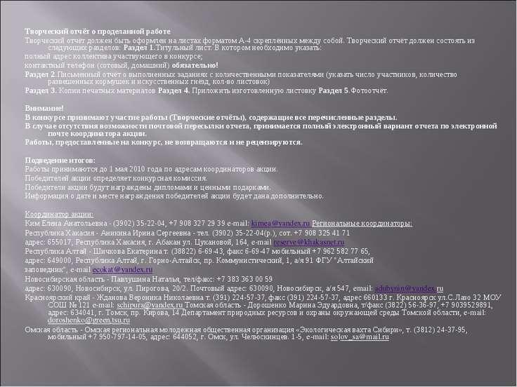 Творческий отчёт о проделанной работе Творческий отчёт должен быть оформлен н...