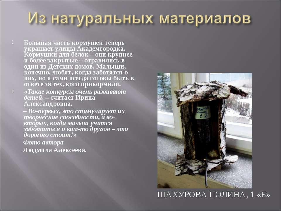 ШАХУРОВА ПОЛИНА, 1 «Б» Большая часть кормушек теперь украшает улицы Академгор...