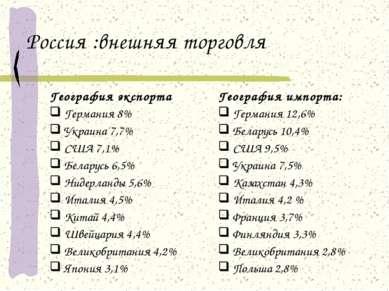 Россия :внешняя торговля География экспорта Германия 8% Украина 7,7% США 7,1%...