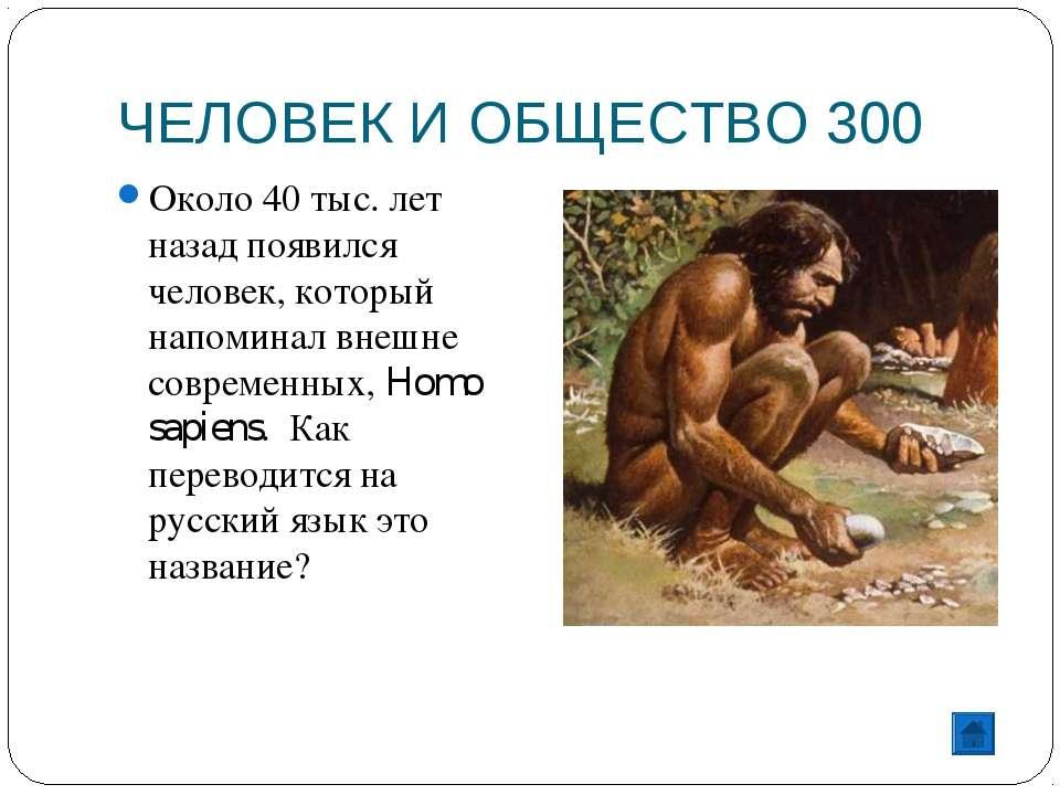 ЧЕЛОВЕК И ОБЩЕСТВО 300 Около 40 тыс. лет назад появился человек, который напо...