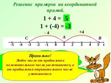 Решение примеров на координатной прямой. 1 + 4 = +4 А В 5 1 + (-4) = - 4 С -3...