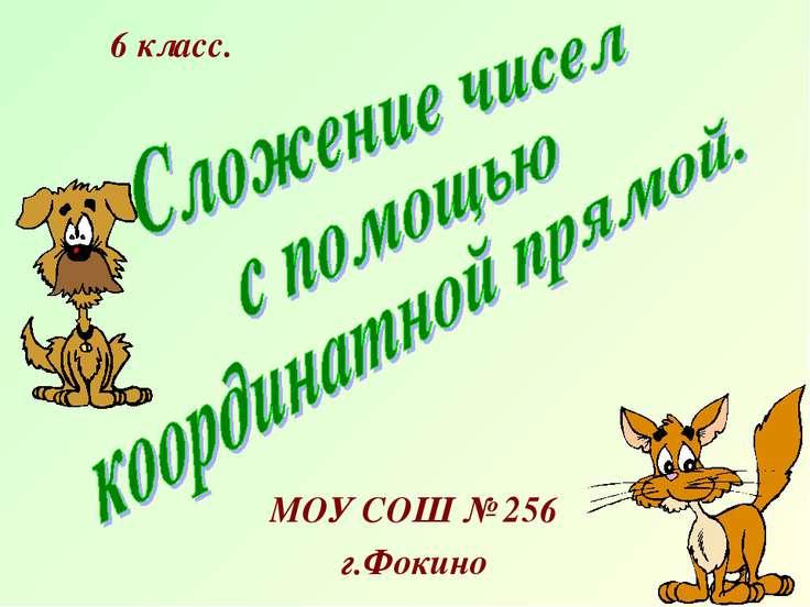 МОУ СОШ № 256 г.Фокино 6 класс.