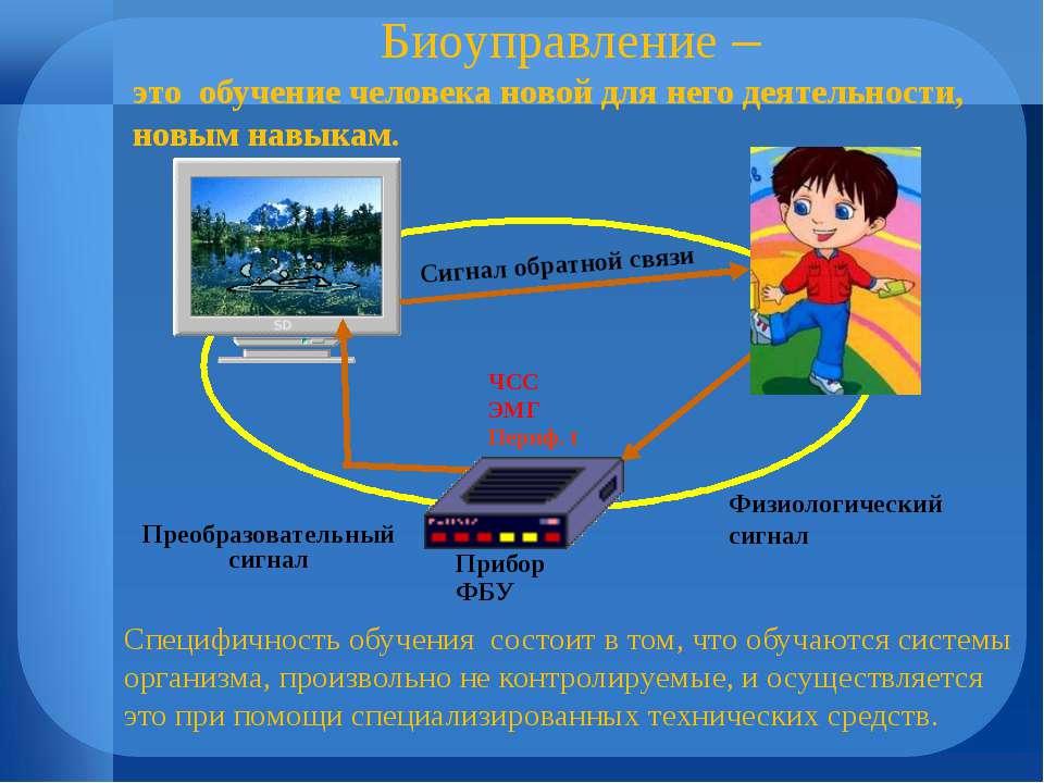 Прибор ФБУ ЧСС ЭМГ Периф. t Преобразовательный сигнал Физиологический сигнал ...