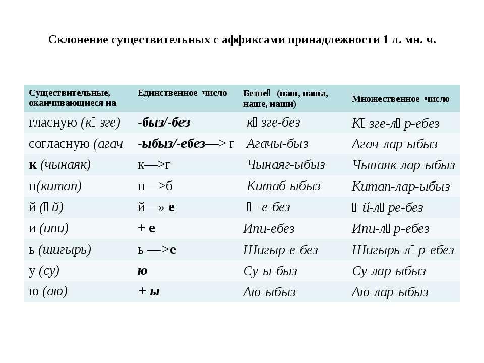 Склонение существительных с аффиксами принадлежности 1 л. мн. ч. Существитель...