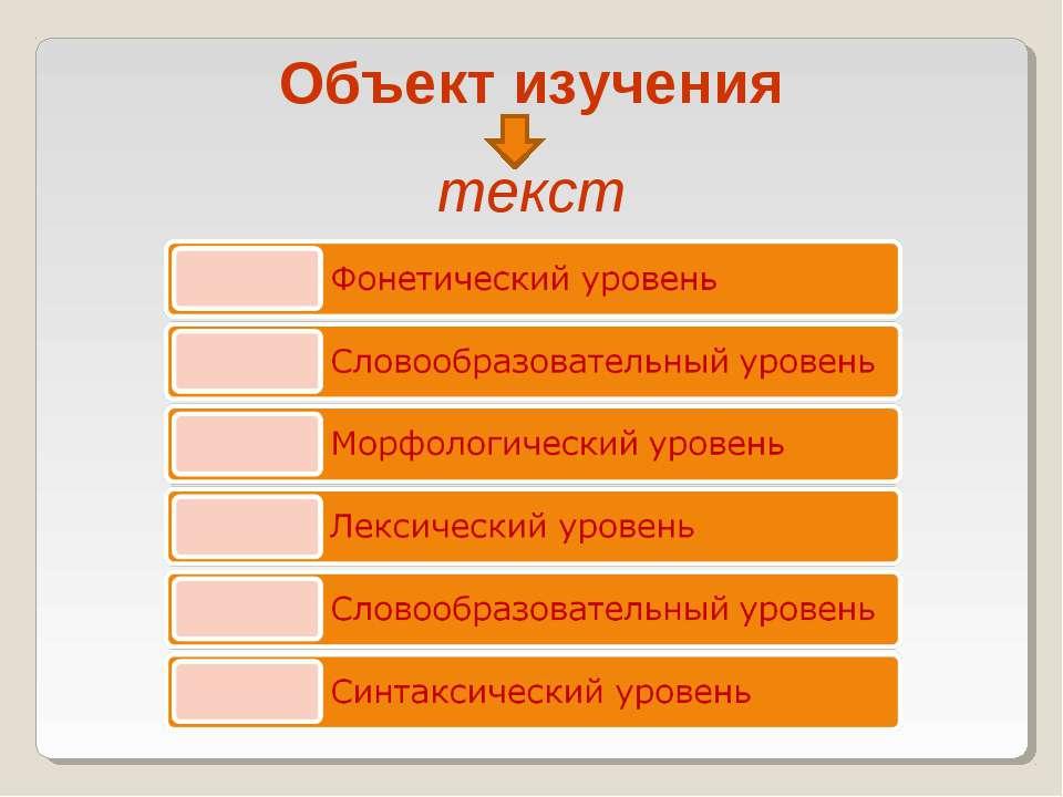 Объект изучения текст