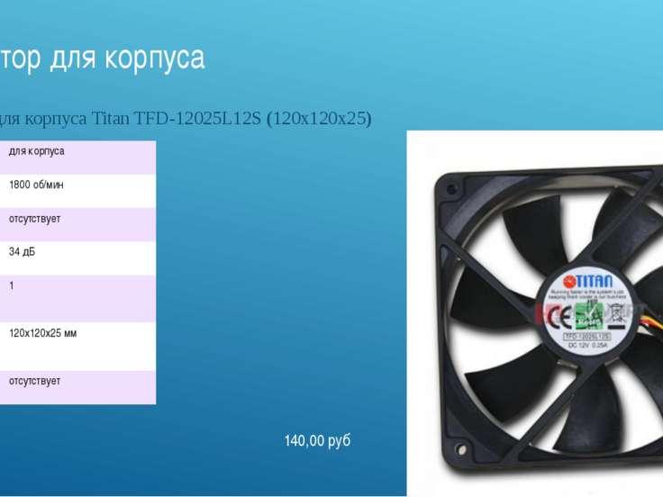 Вентилятор для корпуса Вентилятор для корпуса Titan TFD-12025L12S (120x120x25...
