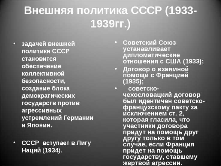 Внешняя политика СССР (1933- 1939гг.) задачей внешней политики СССР становитс...
