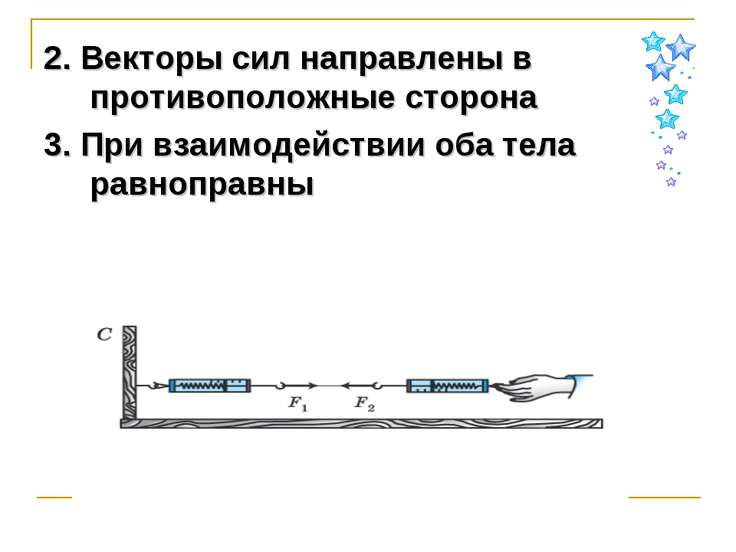 2. Векторы сил направлены в противоположные сторона 3. При взаимодействии оба...