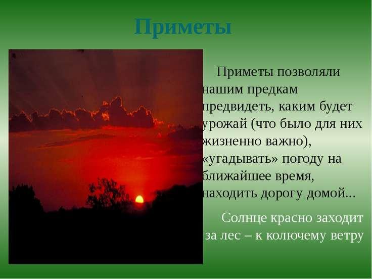 Приметы Приметы позволяли нашим предкам предвидеть, каким будет урожай (что б...