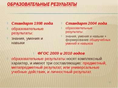 Стандарт 1998 года образовательные результаты: знания, умения и навыки Станда...