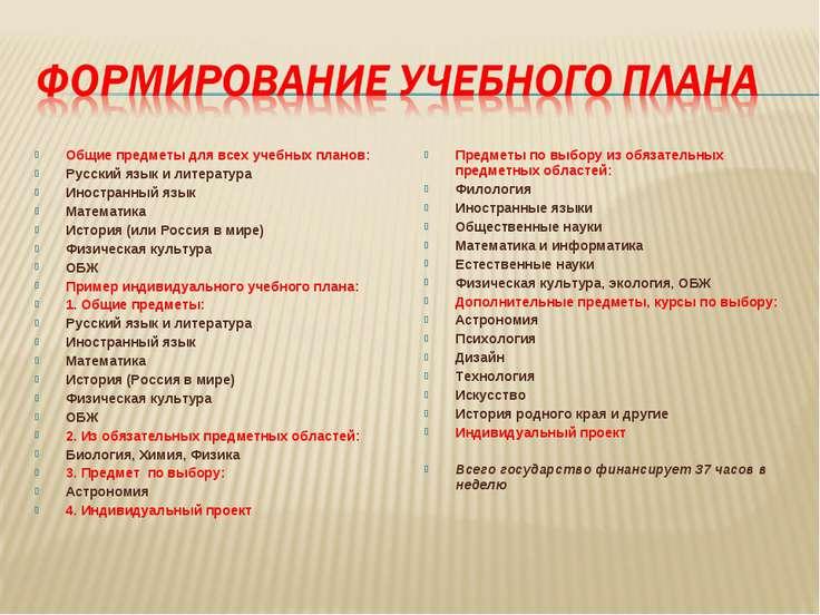 Общие предметы для всех учебных планов: Русский язык и литература Иностранный...