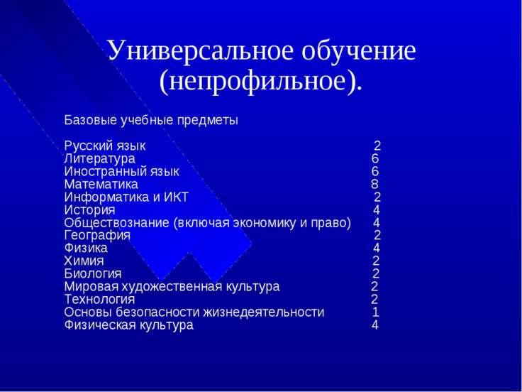 Универсальное обучение (непрофильное). Базовые учебные предметы Русский язык ...