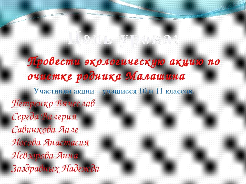 Цель урока: Провести экологическую акцию по очистке родника Малашина Участник...