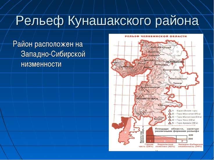 Рельеф Кунашакского района Район расположен на Западно-Сибирской низменности