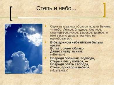 Степь и небо... Один из главных образов поэзии Бунина — небо. Лёгкое, бледное...