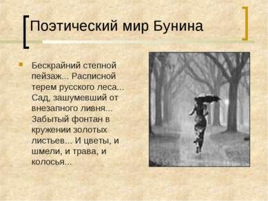 Поэтический мир Бунина Бескрайний степной пейзаж... Расписной терем русского ...