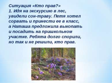 Ситуация «Кто прав?» 1. Идя на экскурсию в лес, увидели сон-траву. Петя хотел...