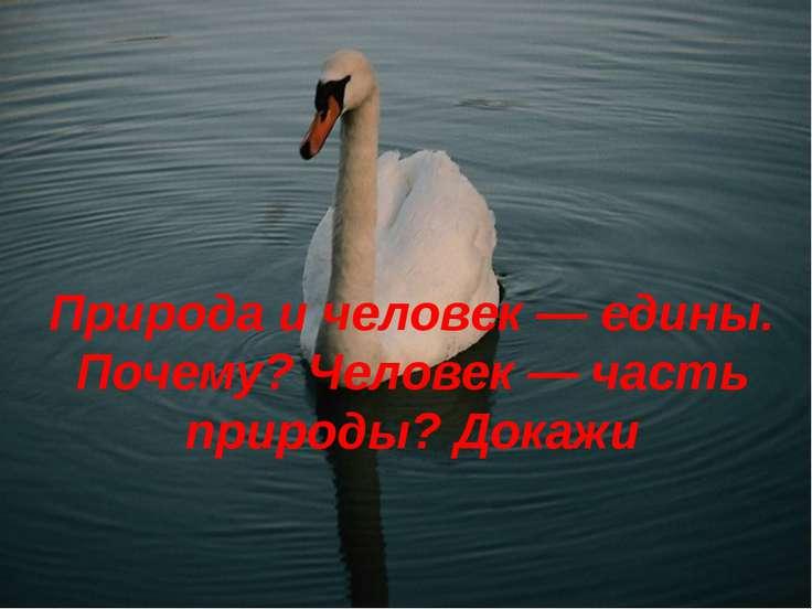 Природа и человек — едины. Почему? Человек — часть природы? Докажи