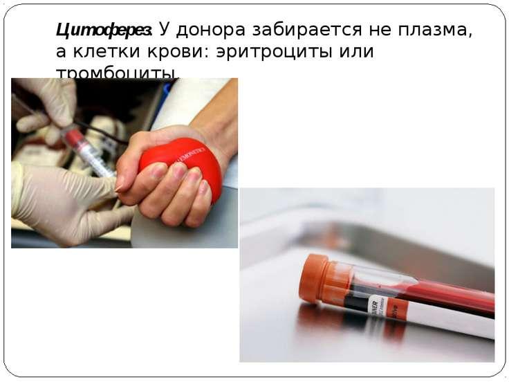 Цитоферез. У донора забирается не плазма, а клетки крови: эритроциты или тром...