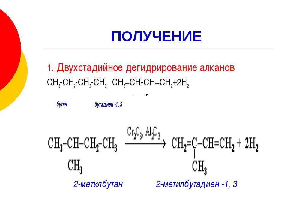 ПОЛУЧЕНИЕ 1. Двухстадийное дегидрирование алканов СН3-СН2-СН2-СН3 СН2=СН-СН=С...