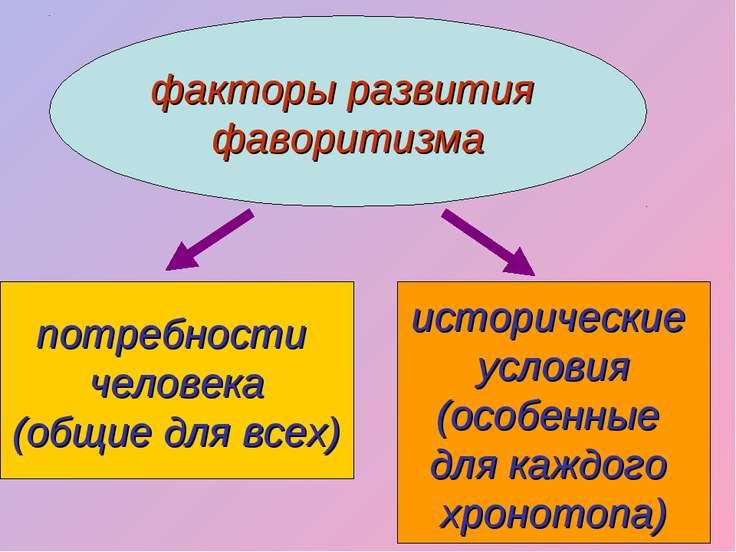 факторы развития фаворитизма потребности человека (общие для всех) историческ...