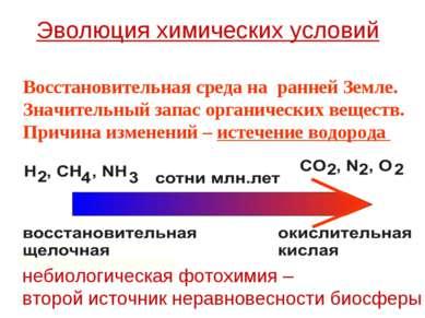 Восстановительная среда на ранней Земле. Значительный запас органических веще...
