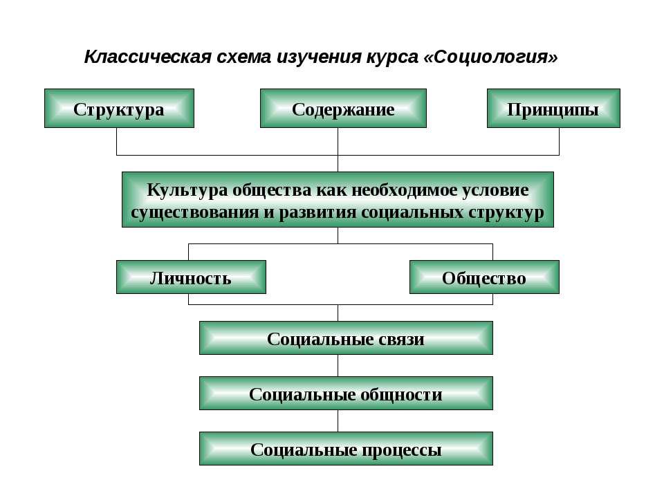 Классическая схема изучения курса «Социология» Структура Содержание Принципы ...