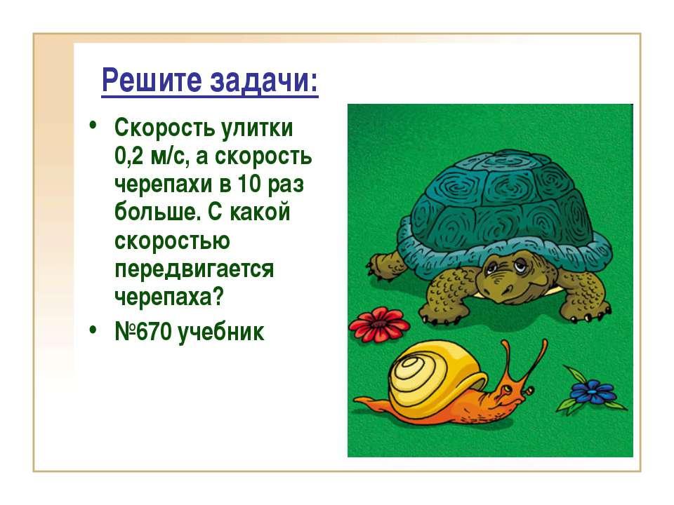 Решите задачи: Скорость улитки 0,2 м/с, а скорость черепахи в 10 раз больше. ...