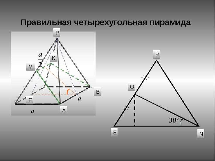Правильная четырехугольная пирамида 30° М К А В Е О N Е Р Р