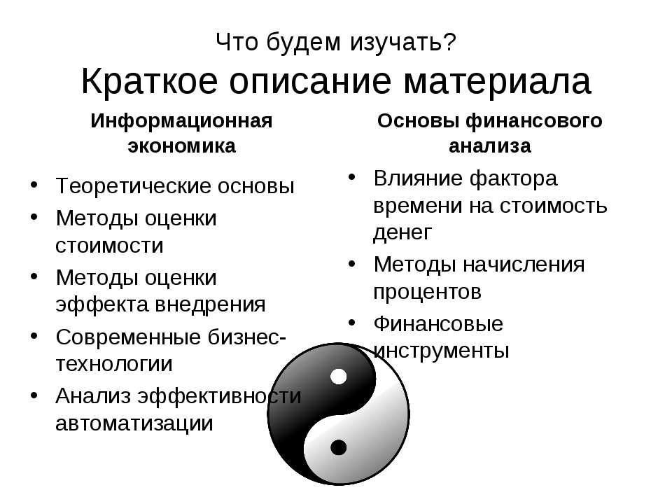 Что будем изучать? Краткое описание материала Информационная экономика Теорет...