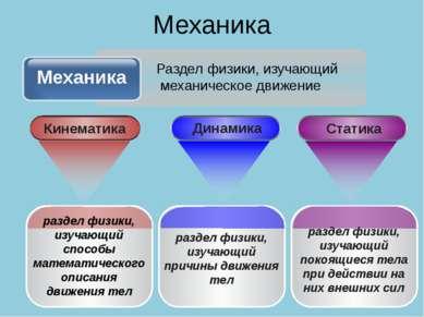 Механика раздел физики, изучающий способы математического описания движения т...