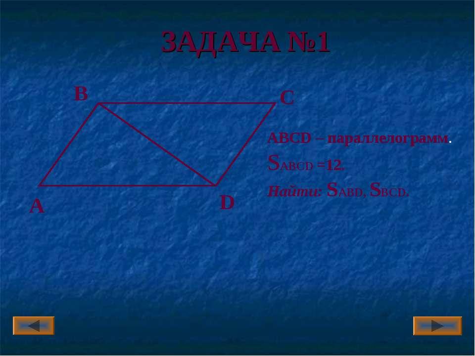 ЗАДАЧА №1 А В С D ABCD – параллелограмм. SABCD =12. Найти: SABD, SBСD. Артюхо...