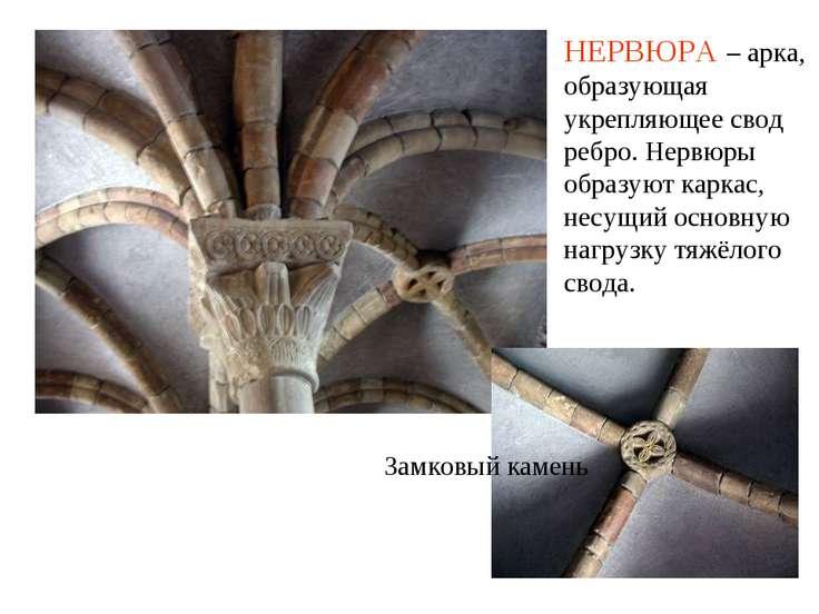 Замковый камень НЕРВЮРА – арка, образующая укрепляющее свод ребро. Нервюры об...