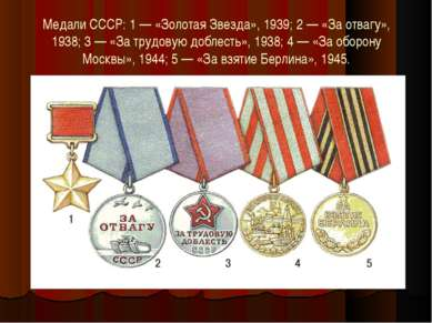 Медали СССР: 1 — «Золотая Звезда», 1939; 2 — «За отвагу», 1938; 3 — «За трудо...