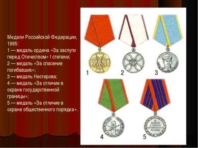 Медали Российской Федерации, 1995: 1 — медаль ордена «За заслуги перед Отечес...