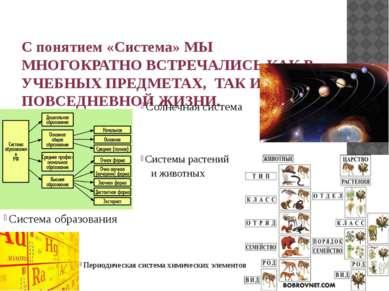 С понятием «Система» МЫ МНОГОКРАТНО ВСТРЕЧАЛИСЬ КАК В УЧЕБНЫХ ПРЕДМЕТАХ, ТАК ...