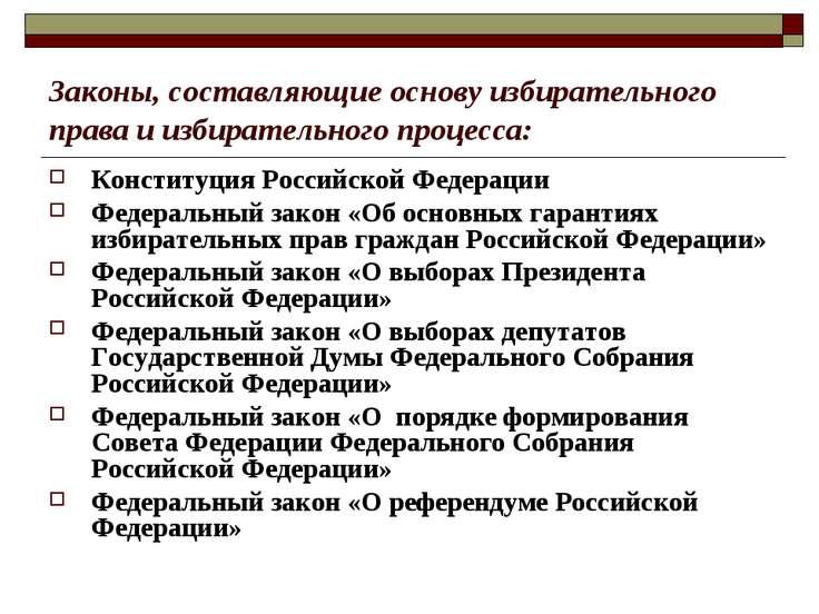 Законы, составляющие основу избирательного права и избирательного процесса: К...