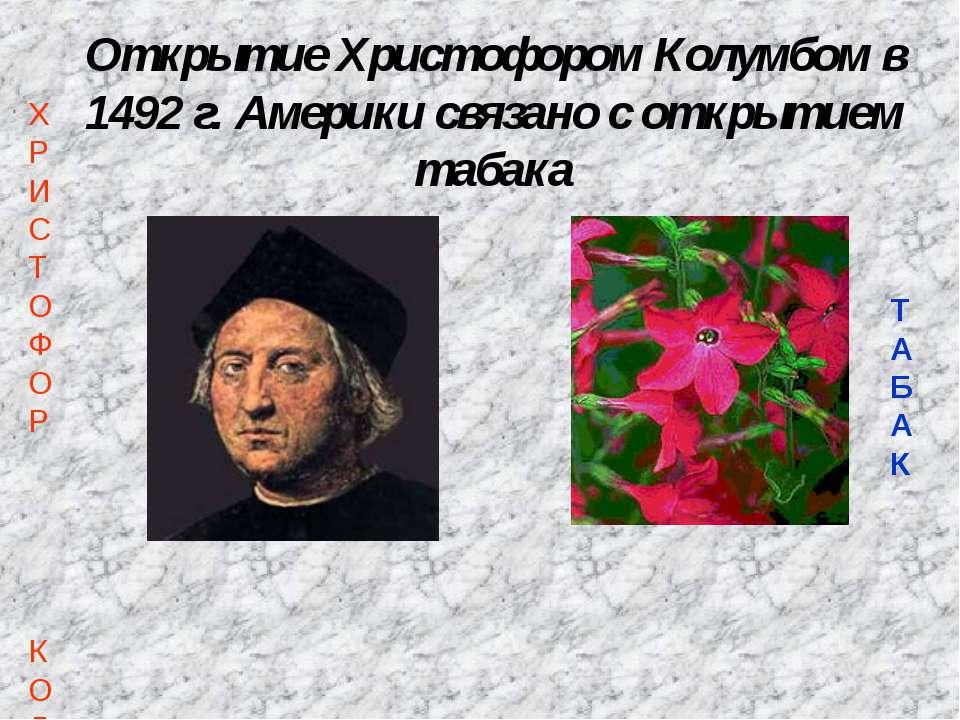 Открытие Христофором Колумбом в 1492 г. Америки связано с открытием табака ХР...