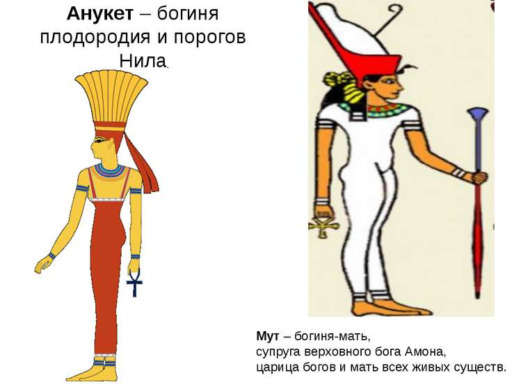 Анукет – богиня плодородия и порогов Нила Мут – богиня-мать, супруга верховно...