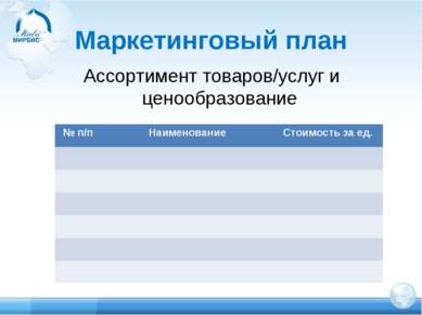 Маркетинговый план Ассортимент товаров/услуг и ценообразование № п/п Наименов...