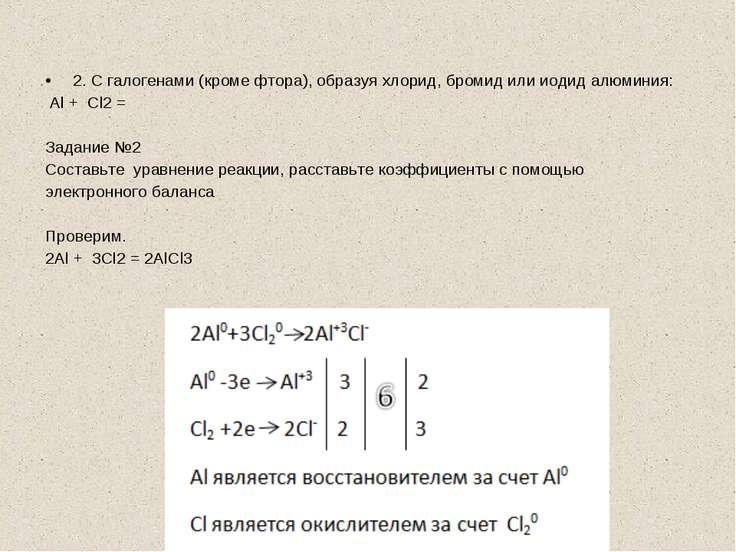 2. С галогенами (кроме фтора), образуя хлорид, бромид или иодид алюминия: Al ...